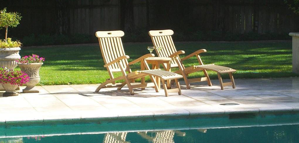 teak steamer chair black massage loungers chairs classic patio furniture