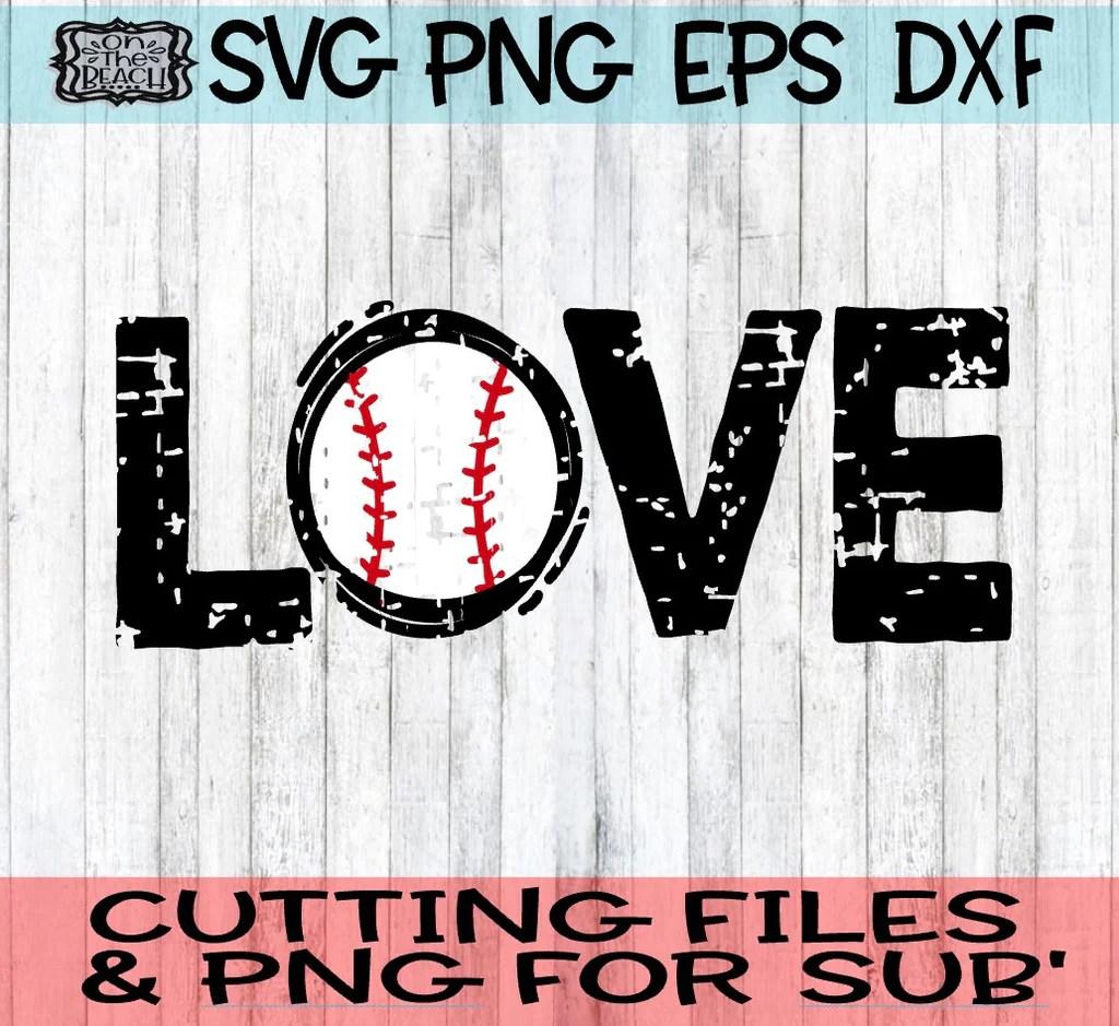 Download Grunge LOVE - Baseball - SVG - DXF - EPS - PNG - On The ...
