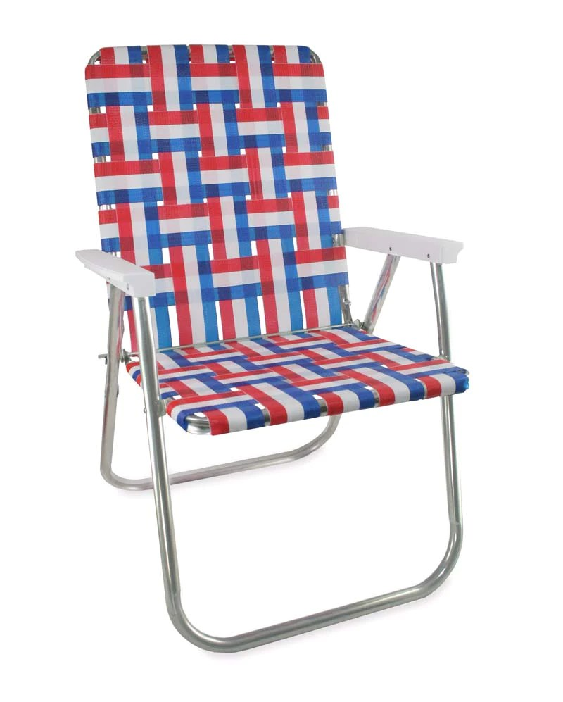 lawn chairs usa office chair target old glory folding aluminum webbing classic with white arms