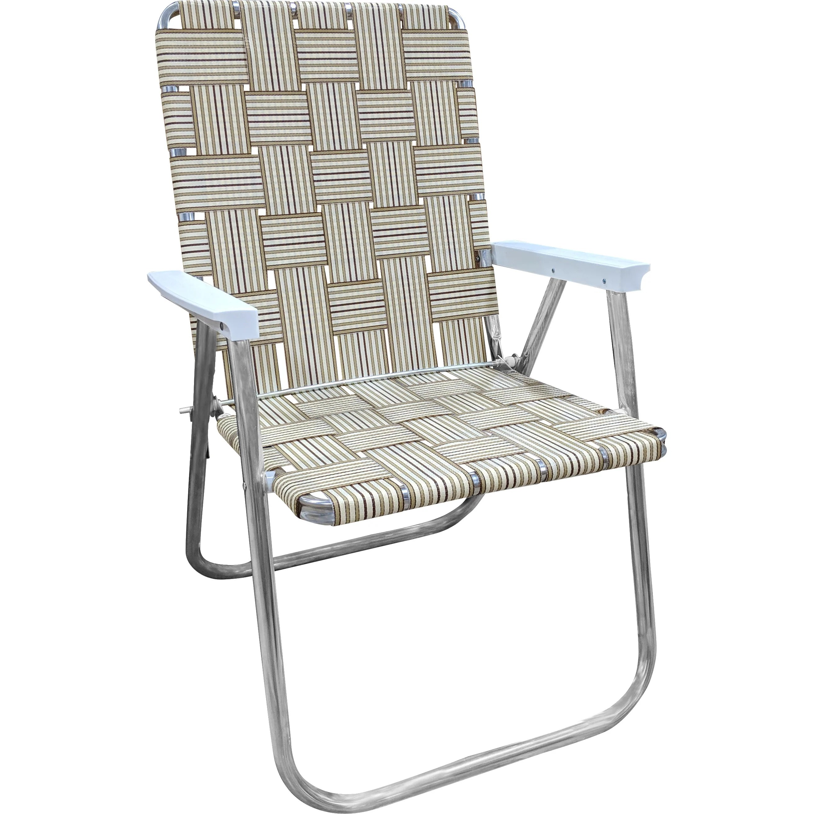 Aluminum Folding Chair Tan Stripe Classic Chair