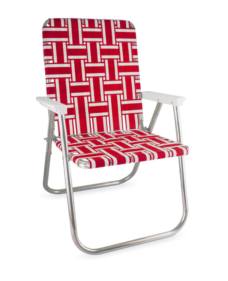 cheap lawn chair graco high 6 in 1 usa red and white stripe folding aluminum webbing beach deluxe