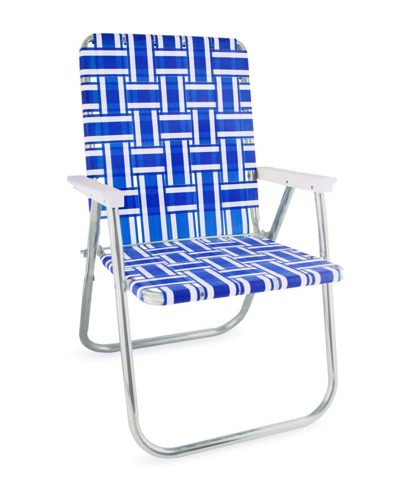 blue and white striped chair living room lawn usa stripe aluminum webbing classic folding deluxe