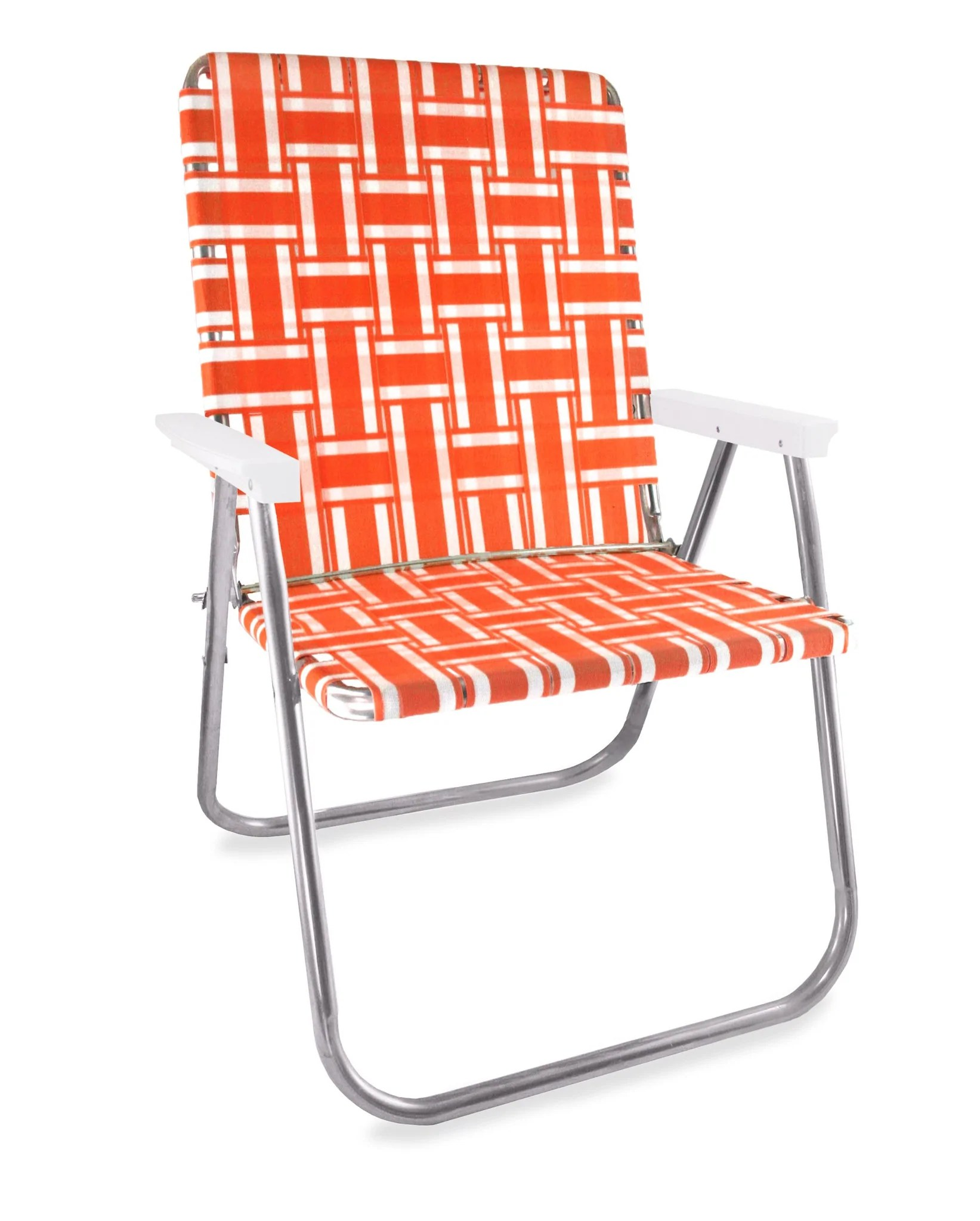 lawn chairs usa gaming chair reviews pc orange and white stripe folding aluminum