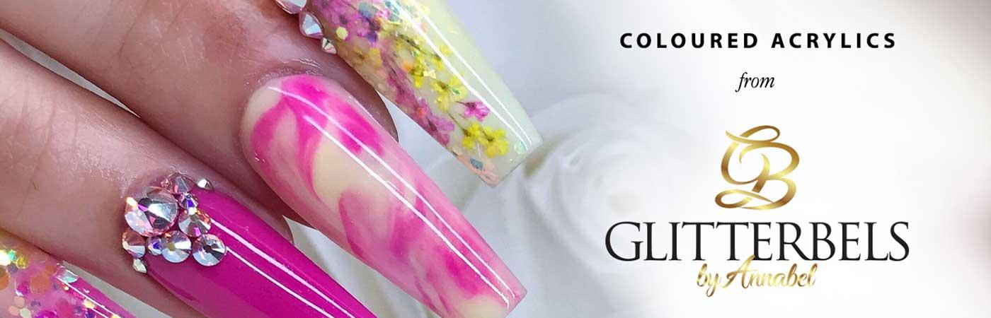 glitterbels coloured acrylics bluestreak
