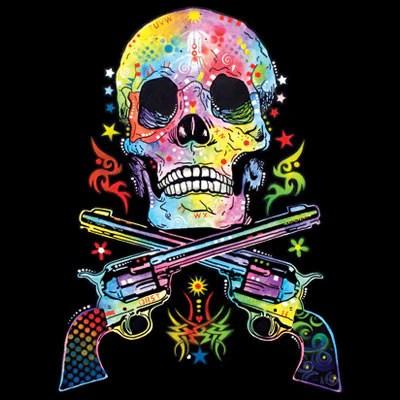 skull guns neon t