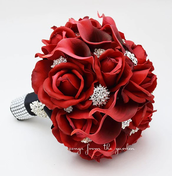 Red Roses Calla Lilies  Rhinestones Bridal Bouquet  Red Black Weddin  Songs from the Garden