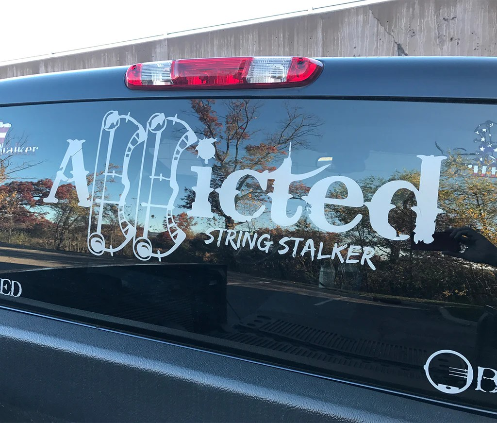 """30"""" Wide Truck String Stalker Bow Hunting Addicted Decal"""