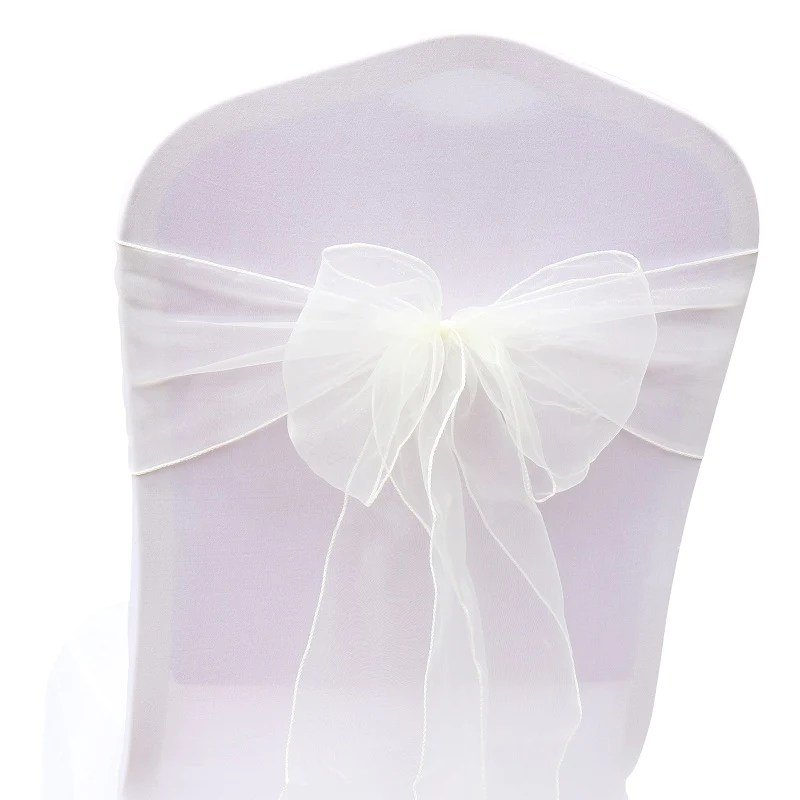 diy organza chair covers mesh office cheap sashes bow cover wedding christmas party event banquet decor sheer fabric chairs decorations