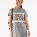 All About Eve Clothing LEOPARD PANEL TEE DRESS - KHAKI