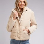 All About Eve Clothing CALI CORD PUFFER - VINTAGE WHITE