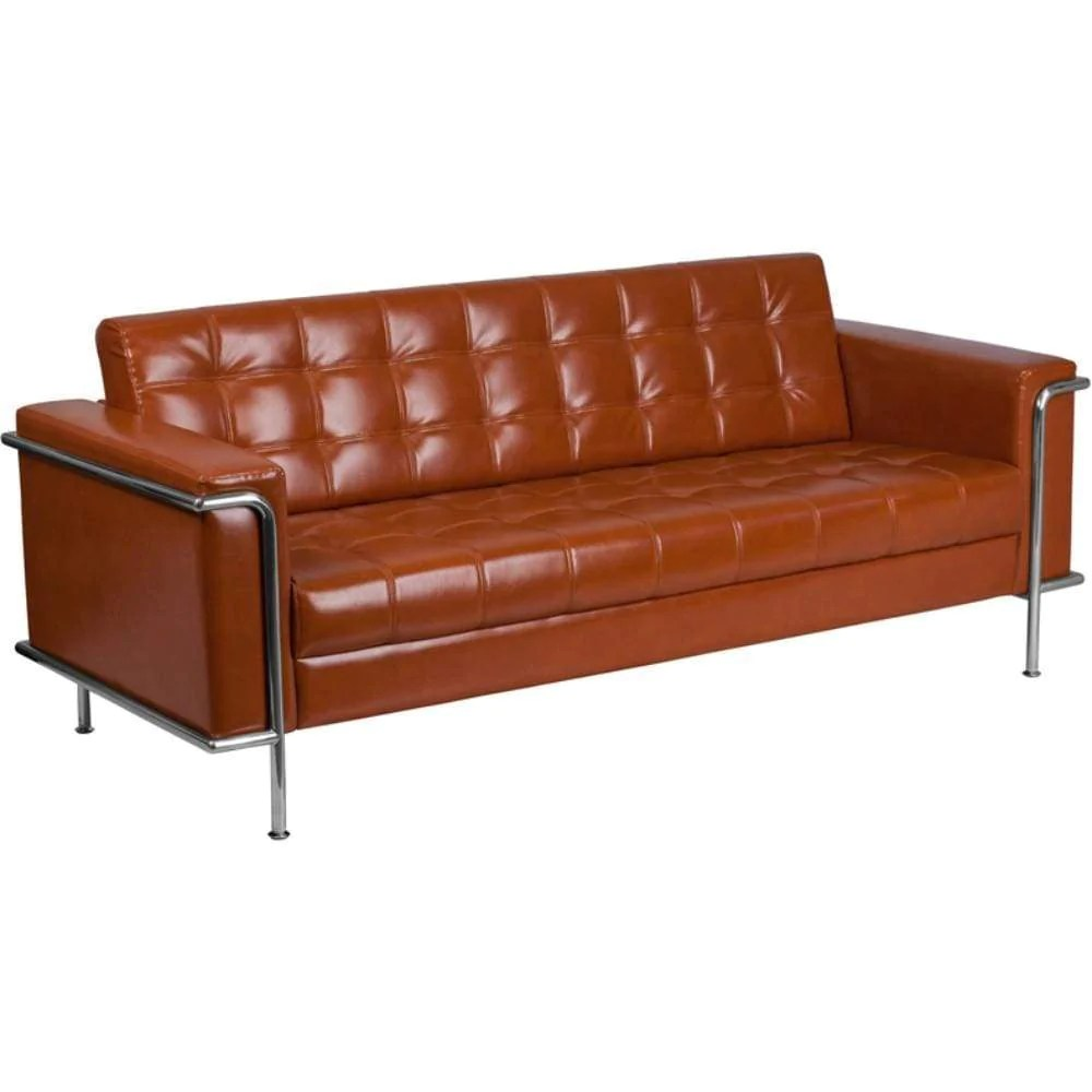 Cognac Bonded Leather sofa-ZB-LESLEY-8090-SOFA-COG-GG