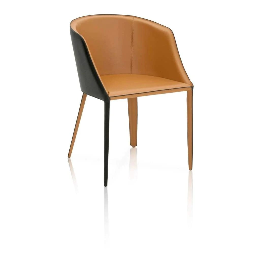 Curved Back Chair Dual Tone Dining Chair With Curved Back Saddle Brown And Black