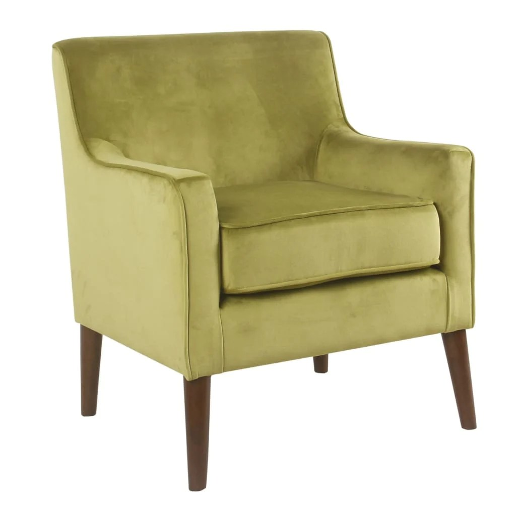 Plush Chairs Fabric Upholstered Wooden Accent Chair With Plush Seat Cushion Yellow And Brown K7609 B271