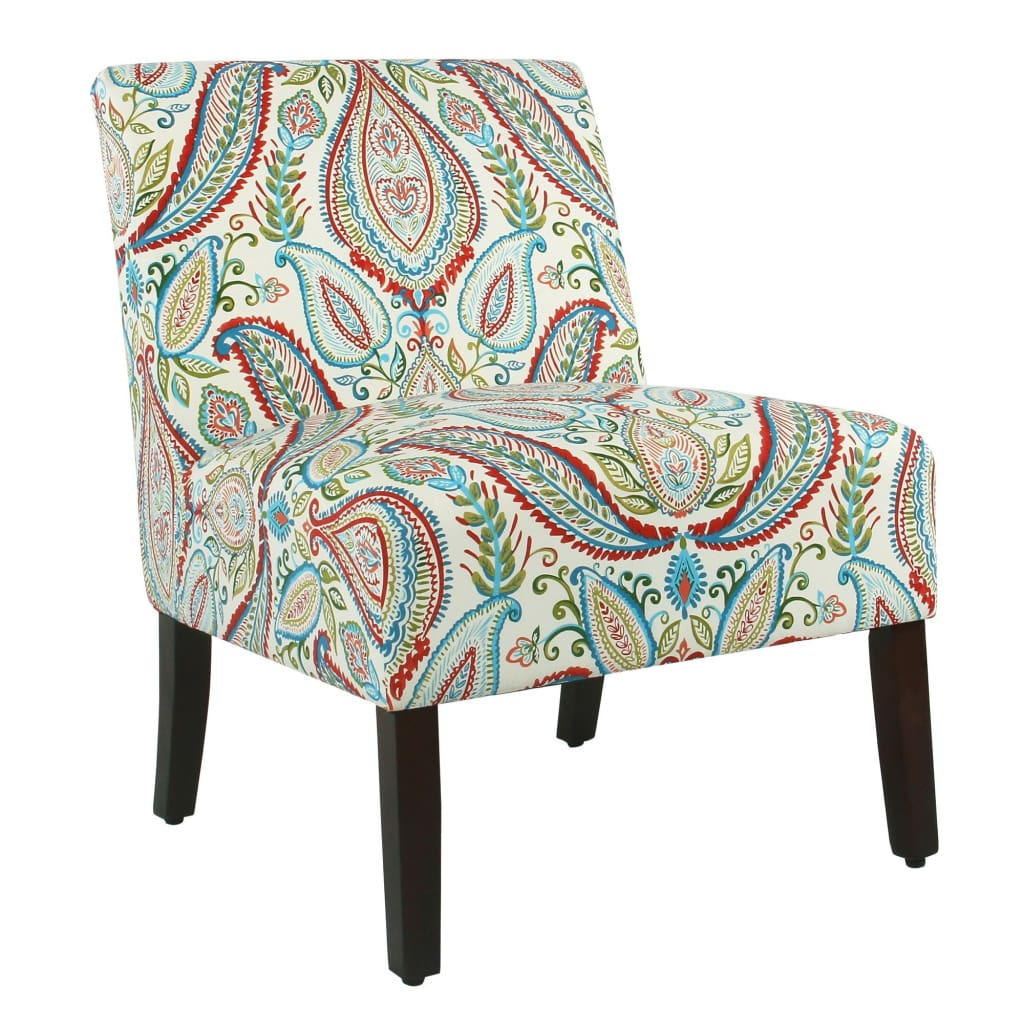 Paisley Chair Fabric Upholstered Wooden Armless Accent Chair With Bold Paisley Pattern Multicolor K7682 A727