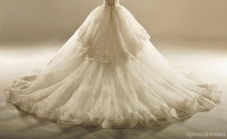 Grand Sweetheart Lace Hem Skirt Long Wedding Dresses