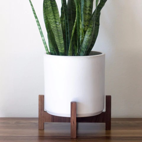 Modern Planter With Plant Stand Tabletop Bell Object
