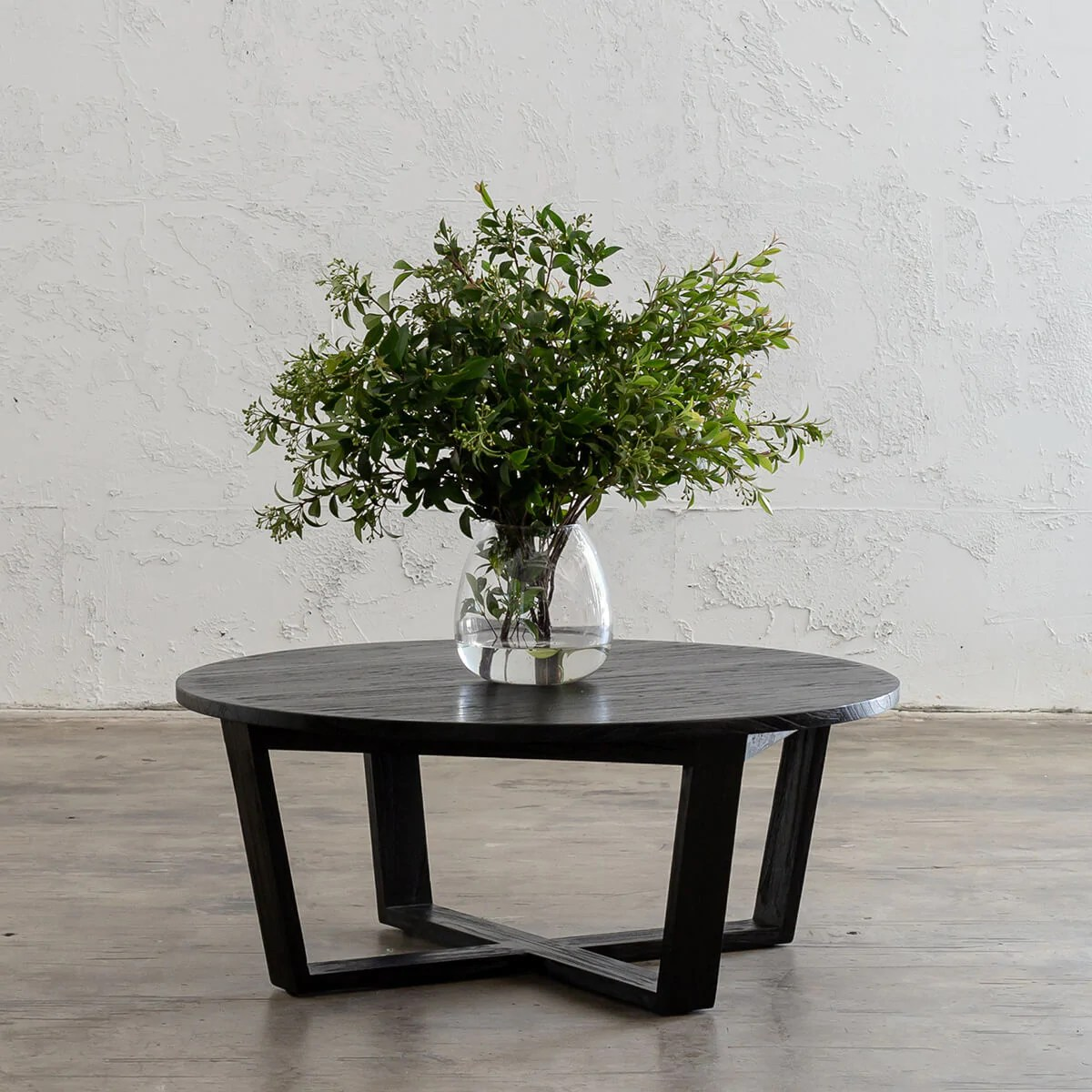 amara mid century timber coffee table solid top black round