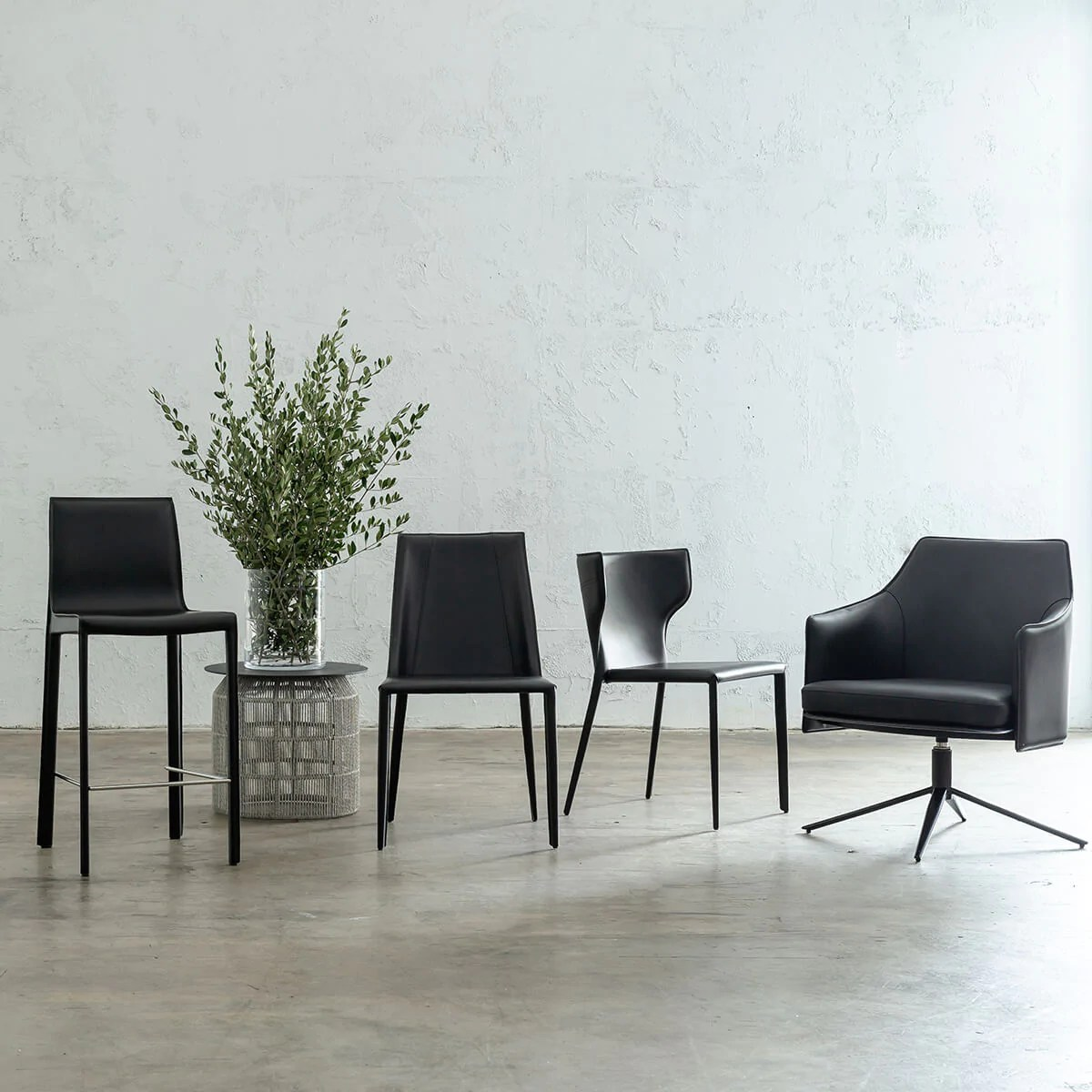 Ames Mid Century Vegan Leather Bar Chair Noir Black Faux Leather Bar Stool