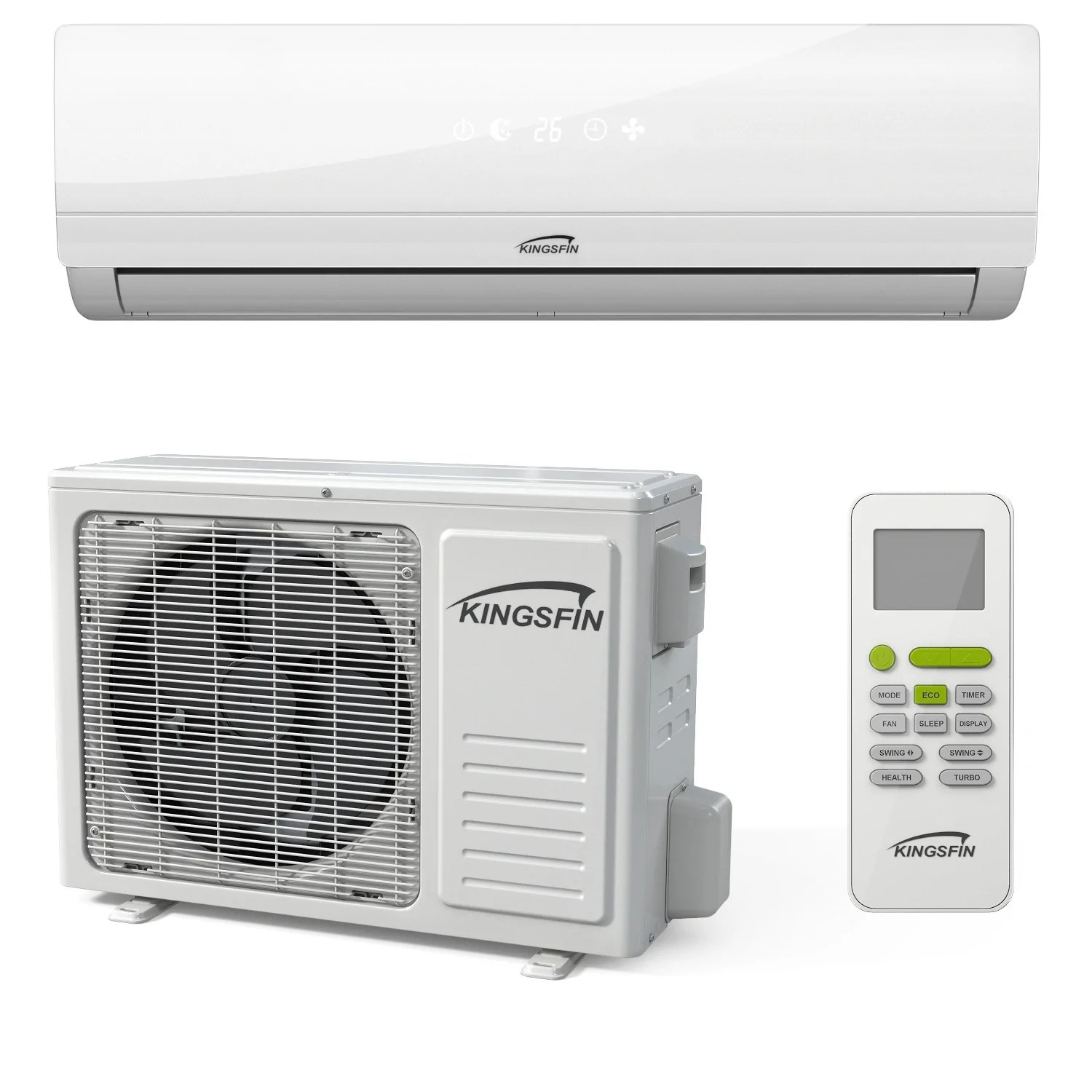 kingsfin mini split ductless ac air conditioner and heat pump 15 18 seer complete system [ 1500 x 1500 Pixel ]