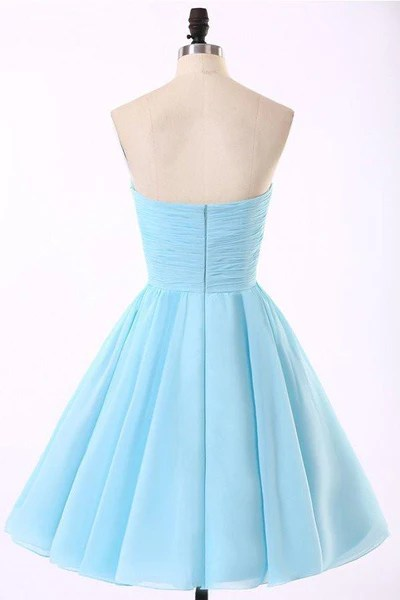 Cheap Chiffon Light Blue Cute homecoming prom dresses