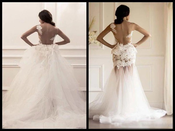 Two Pieces Strapless Gorgeous Lace Wedding Dresses