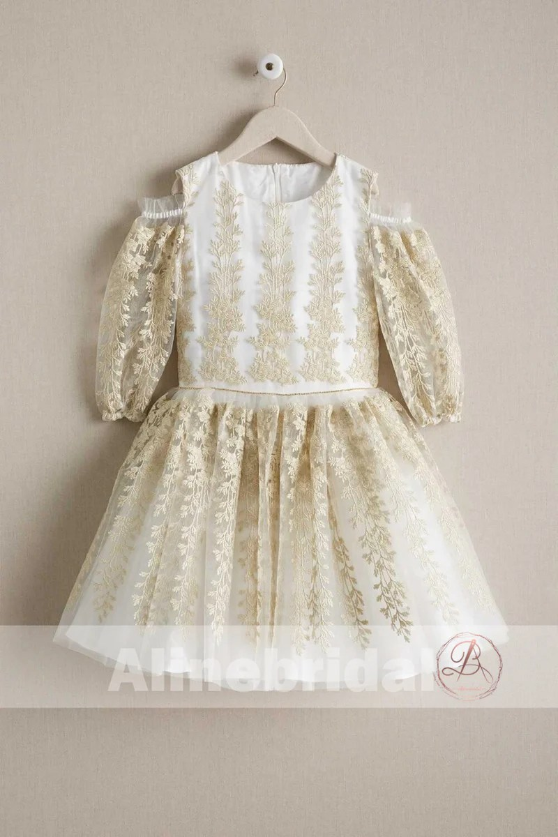 774124a4b3c Gorgeous Gold Lace Organza Half Sleeve Cute Flower Girl Dresses