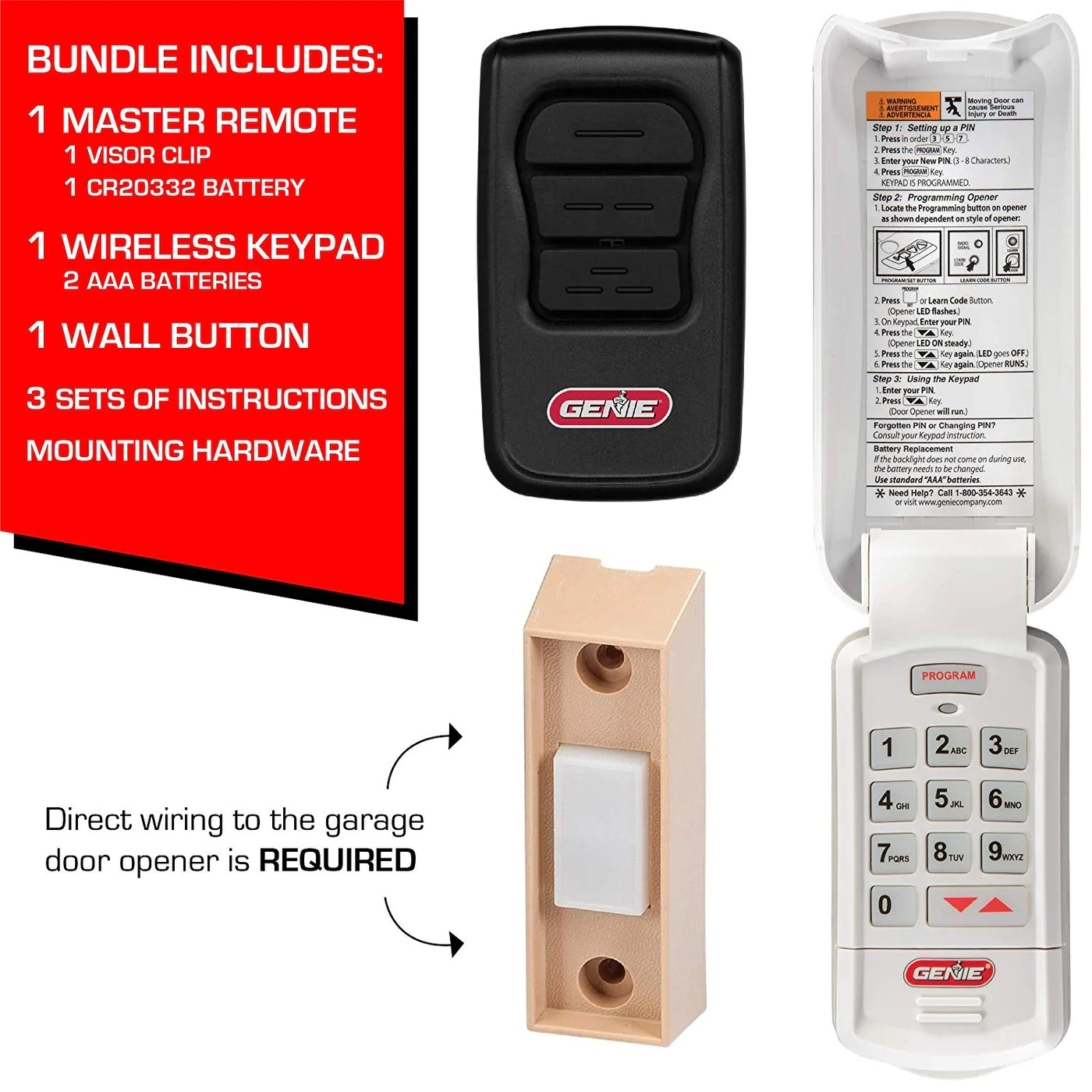 medium resolution of  genies accessories bundle for garage door openers come with diy detailed illustrated programming instructions genie s