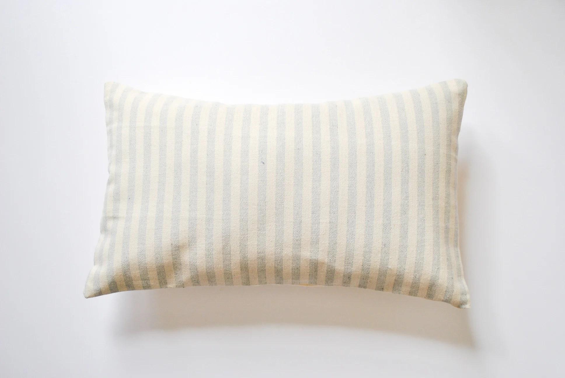 blue striped 12x20 lumbar accent pillow