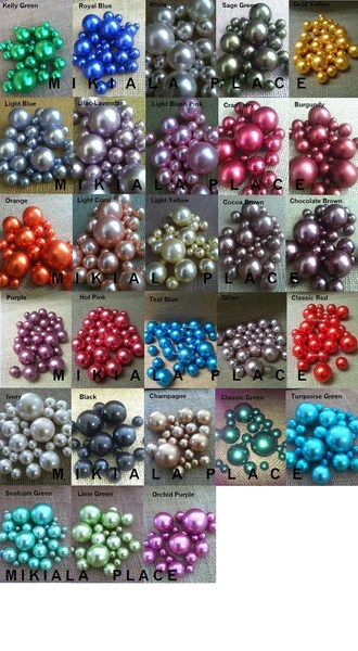 80pc Pearls For Floating Pearl Centerpieces Available in 2 color combo  Floating Pearls