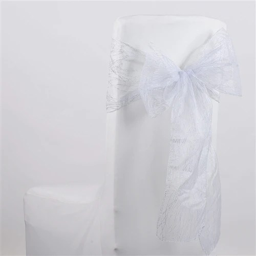 white chair sashes swivel chairs outdoor wholesale for wedding bows satin lace glitter organza sash 10 pieces