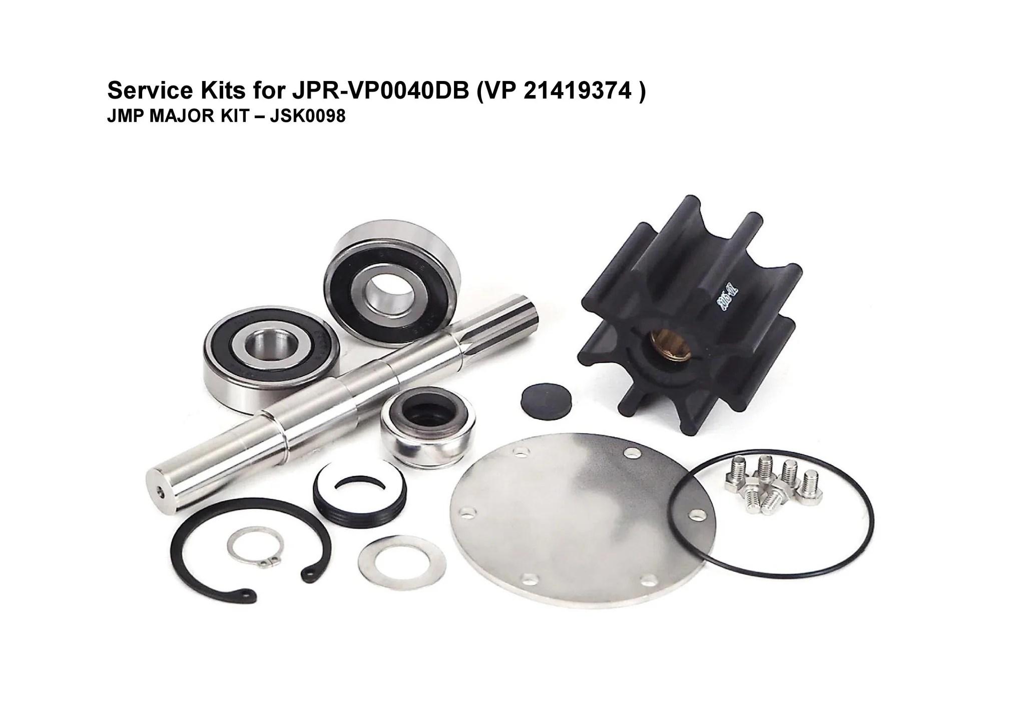 hight resolution of jmp jsk0098 major kit for jmp pump jpr vp0040db 21419374 fits volvo penta engines d4 225a e d4 260a e d4 260d e d4 300a e d4 300d e
