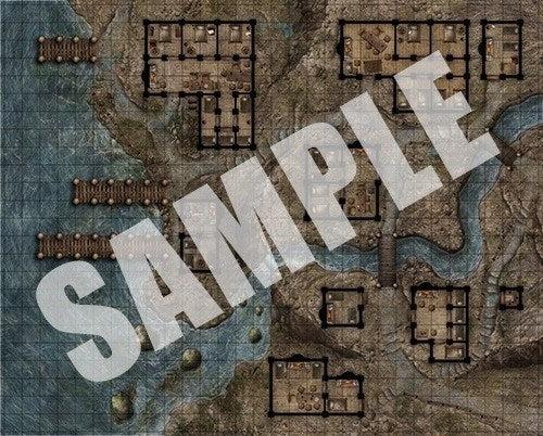Pathfinder FlipMat Red Light District  RPG Miniatures Game Mat  Dark Elf Dice