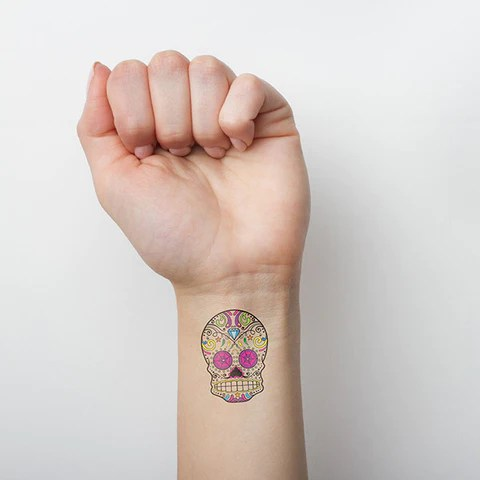 Small Sugar Skull Tattoo On Wrist