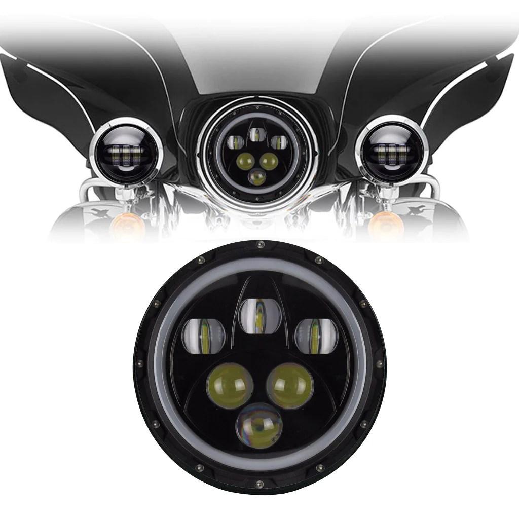 medium resolution of 7 black 5 pod halo led harley headlight