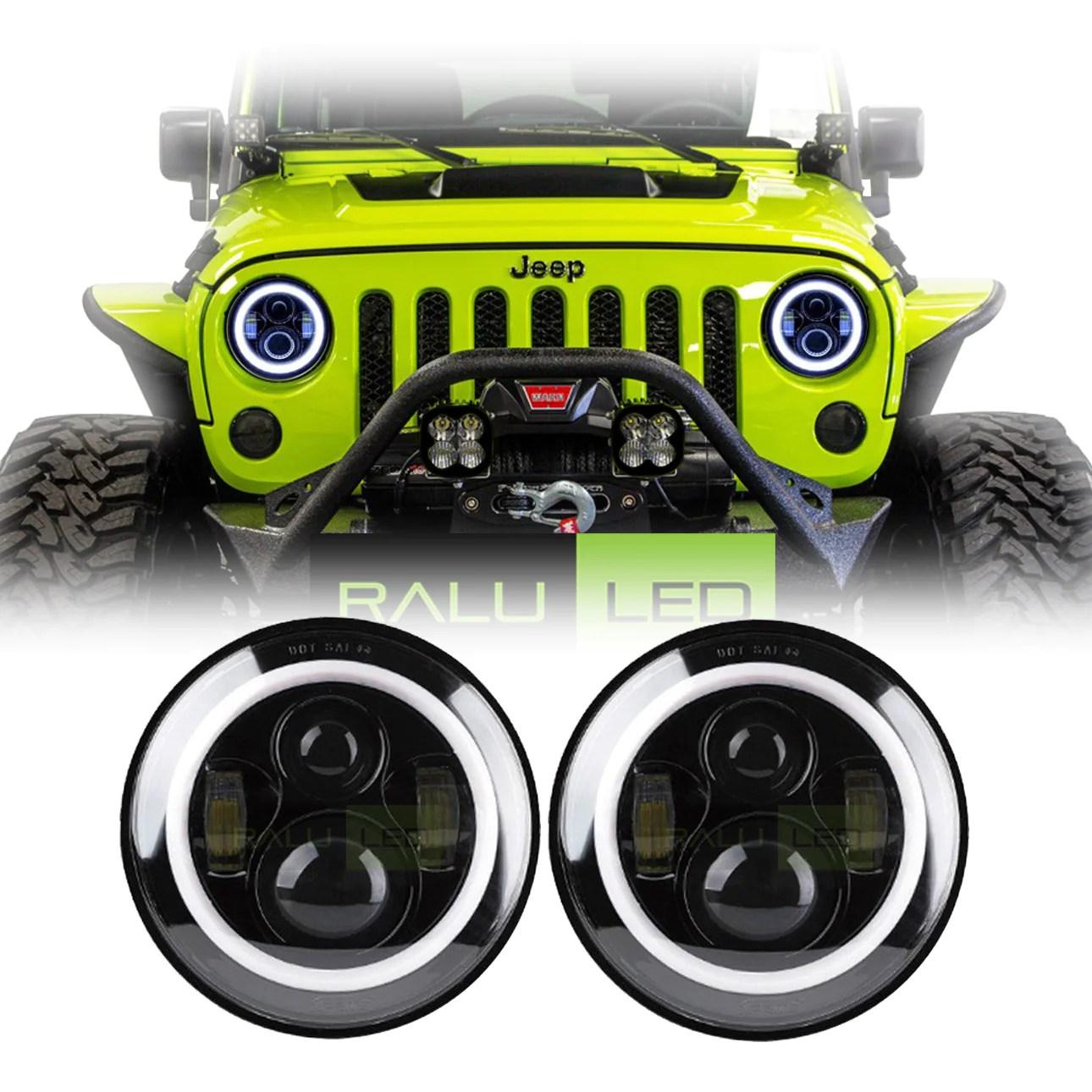 hight resolution of jeep wrangler color halo led headlights jk jku tj 1997 2018 black