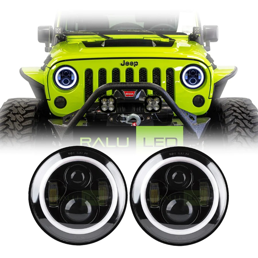 jeep wrangler color halo led headlights jk jku tj 1997 2018 black [ 900 x 900 Pixel ]