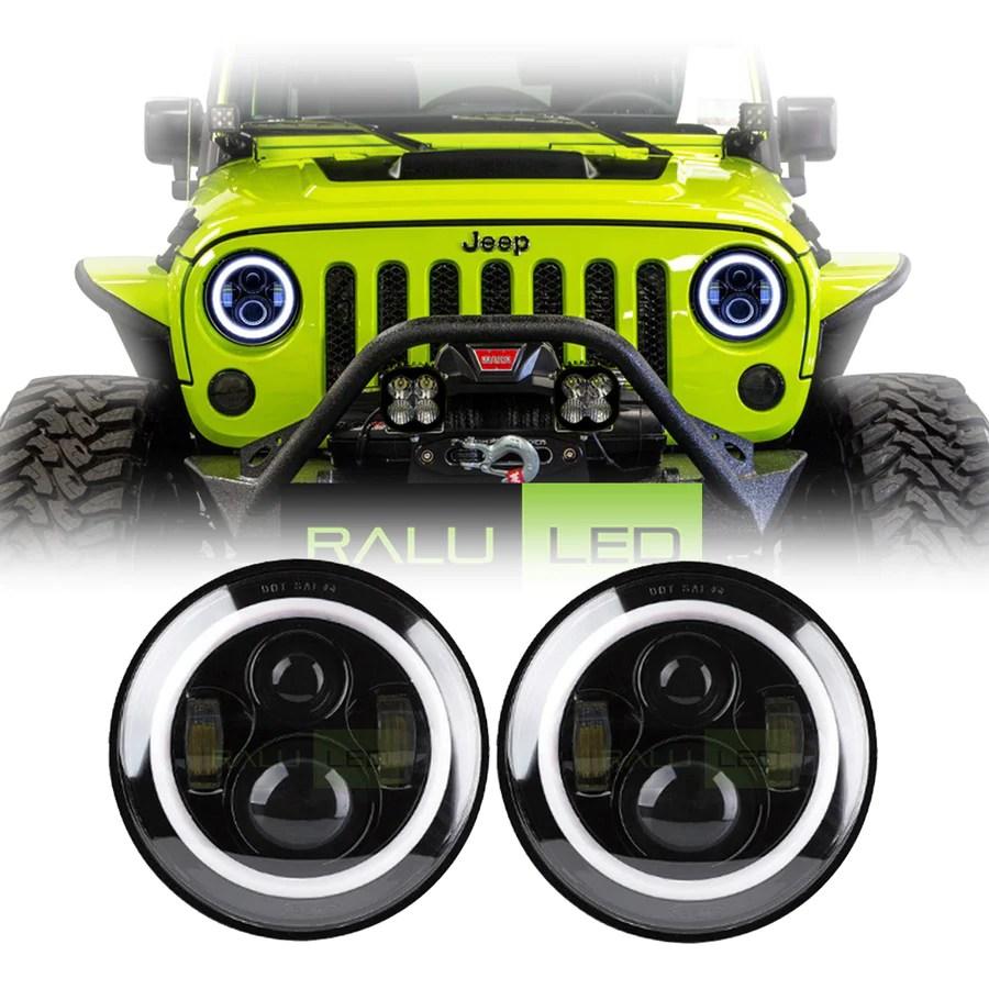 medium resolution of jeep wrangler color halo led headlights jk jku tj 1997 2018 black