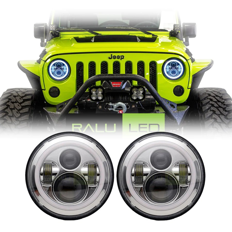 jeep wrangler color halo led headlights jk jku tj 1997 2018 chrome [ 900 x 900 Pixel ]