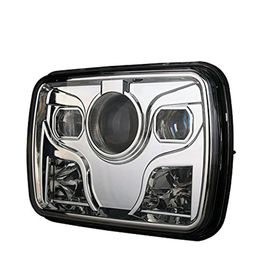 square headlights 7x6 5x7 inch diamond projector led headlights pair  [ 900 x 900 Pixel ]
