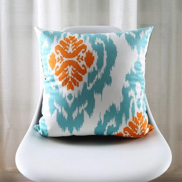 turquoise orange patterned accent pillow covers