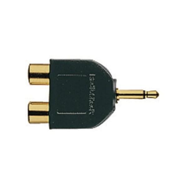 medium resolution of gold plated audio y adapter 1 8 inch mono jack to phono plugs radioshack