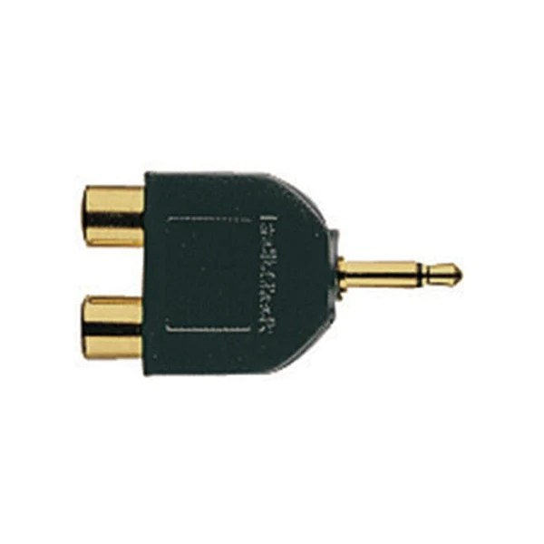small resolution of gold plated audio y adapter 1 8 inch mono jack to phono plugs radioshack