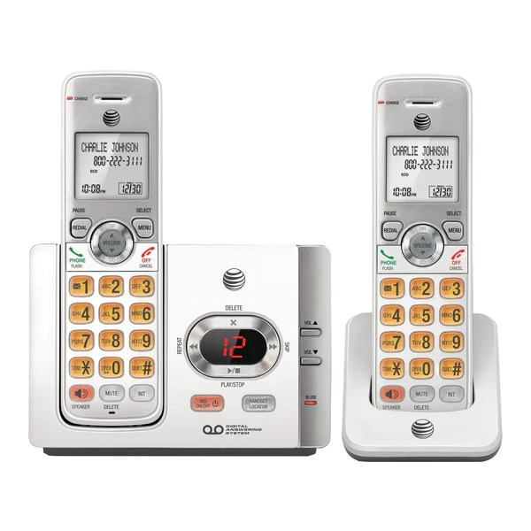 medium resolution of at t el52215 cordless phone with 2 handsets answering system and call radioshack
