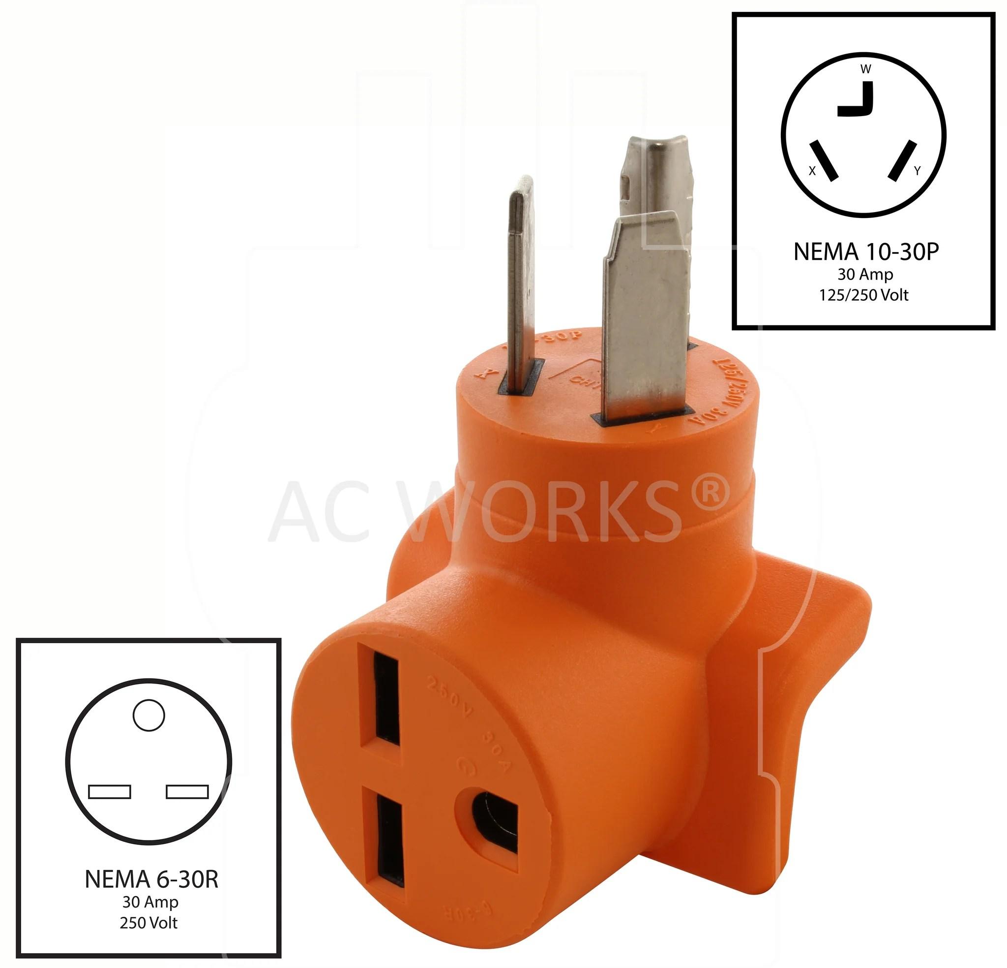 hight resolution of  nema 10 30p to nema 6 30r 1030 male plug to 630 female