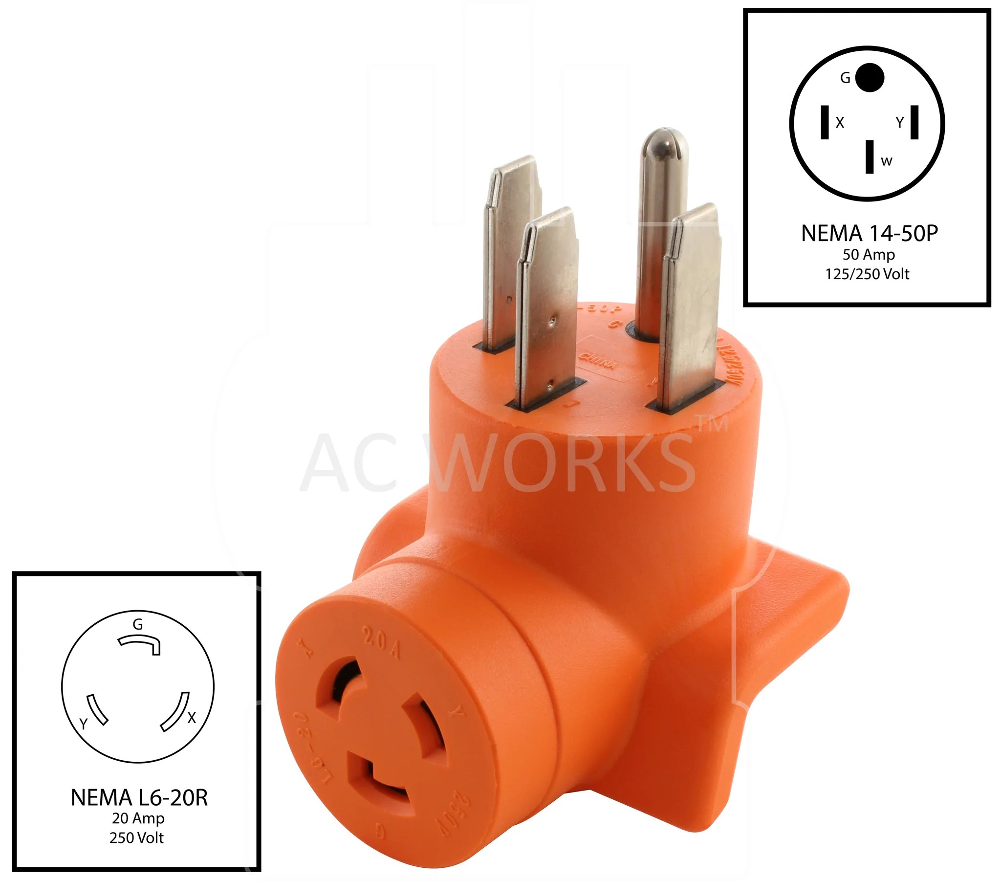hight resolution of  nema 14 50p to nema l6 20r 1450 plug to l620 connector