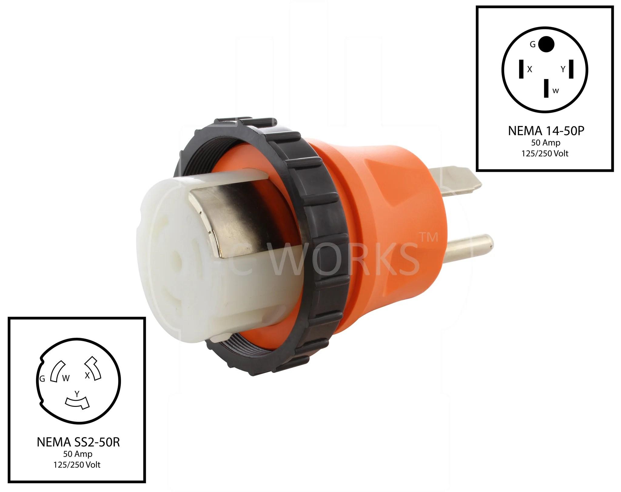 hight resolution of  nema 14 50p to nema ss2 50r 50 amp adapter 50 amp