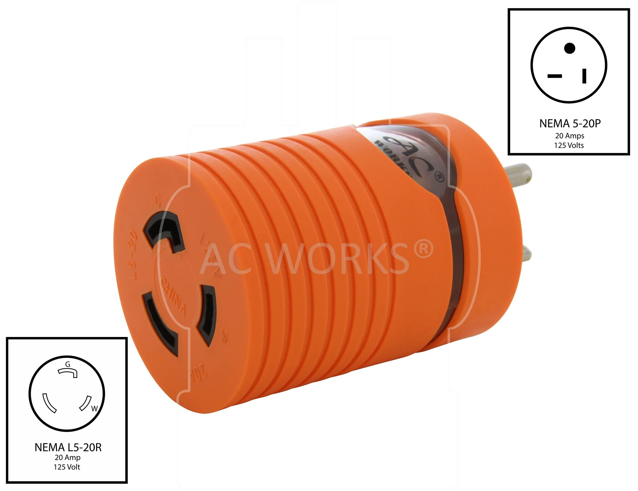 hight resolution of  ac works ad520l520 adapter 5 20p 20a household male plug to locking