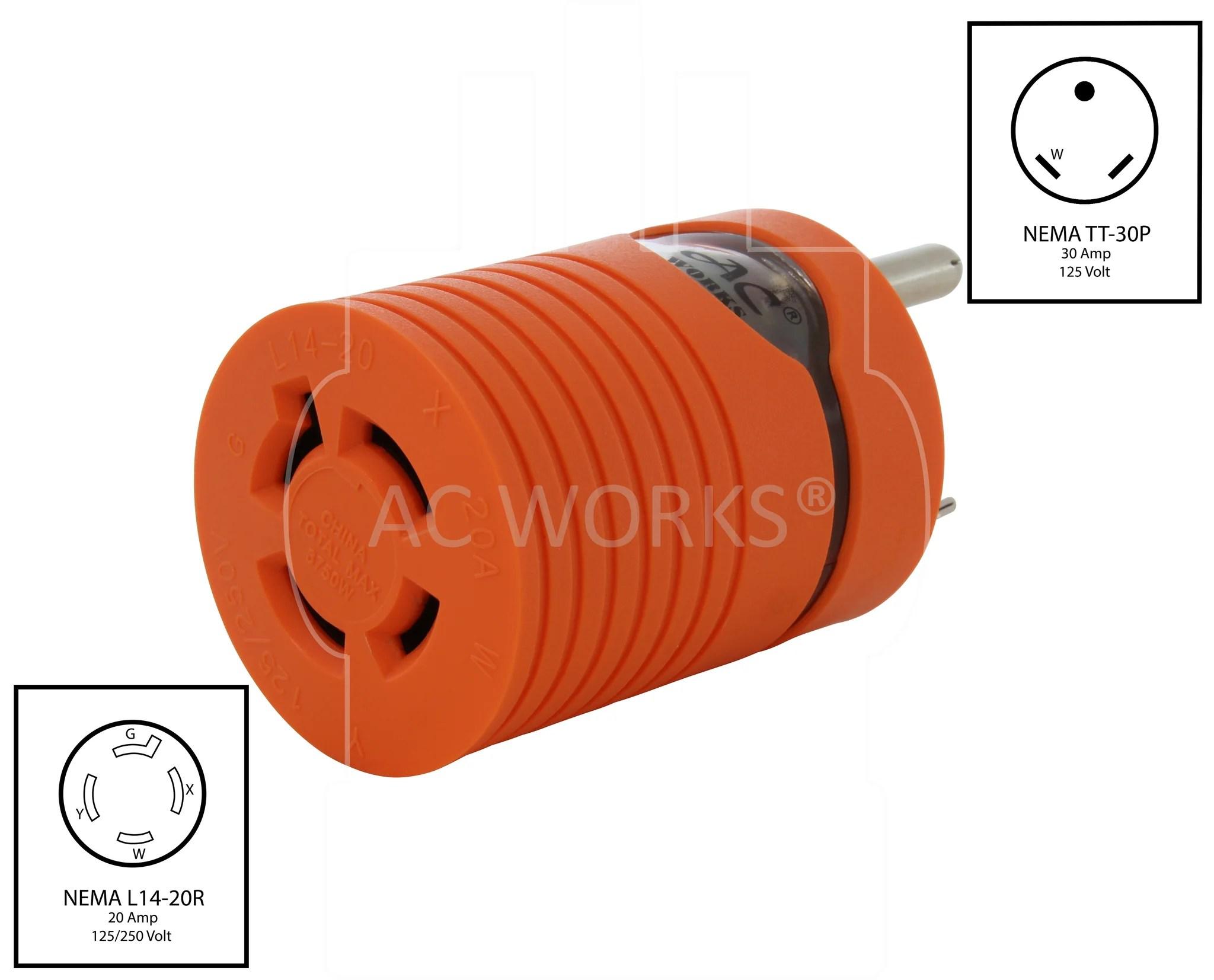 medium resolution of  nema tt 30p to nema l14 20r tt30 plug to l1420 connector