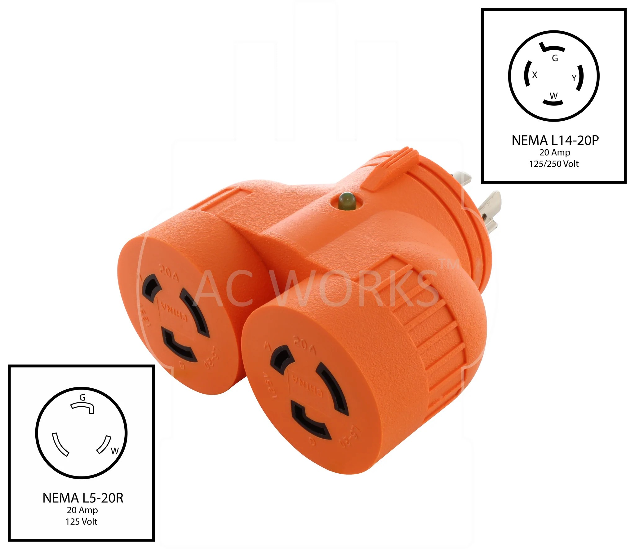 medium resolution of  nema l14 20p to 2 nema l5 20r l1420 plug to l520 connectors