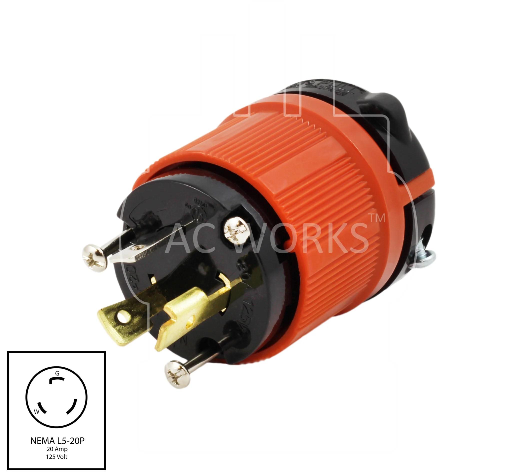 medium resolution of nema l5 20p 20amp 125volt 3 prong locking assembly male plug ac 110v plug wiring diagram